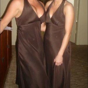 Oleg Cassini Brown Halter Bridesmaid Dress Size 8